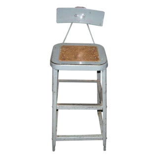 Industrial Metal Factory Stool With Back