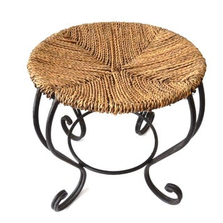 Moroccan Rattan & Fer Forge Stool