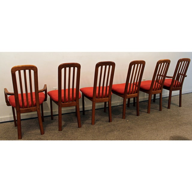 Set of 6 Mid-Century Danish Modern Ansager Mobler Spindle Teak Dining Chairs - Image 5 of 11