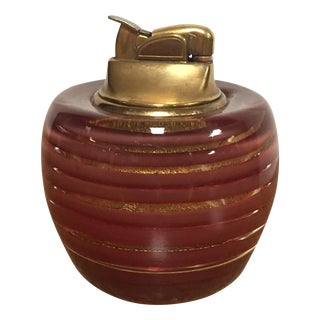 Mid-Century Murano Red & Gold Fleck Glass Lighter