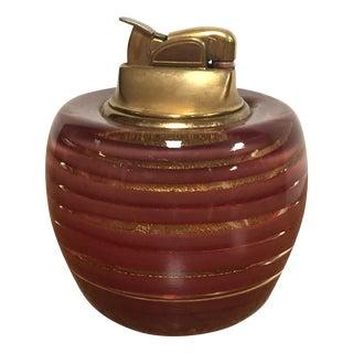 Mid-Century Murano Red & Gold Fleck Glass Lighter