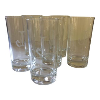 "Vintage ""J"" Etched Crystal Hi-Ball Glasses - Set of 6"