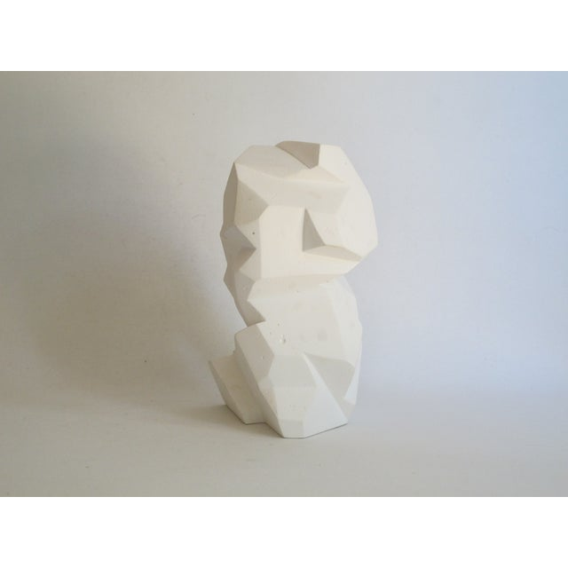 Abstract Cubist White Plaster Statue - Image 8 of 11