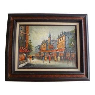 Vintage Impressionist European Street Scene Signed 'Simon' Oil on Canvas