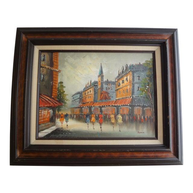 Vintage Impressionist European Street Scene Signed 'Simon' Oil on Canvas - Image 1 of 11