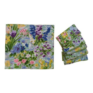Set of 6- 1960s Multicolor Floral Chintz Linen Napkins