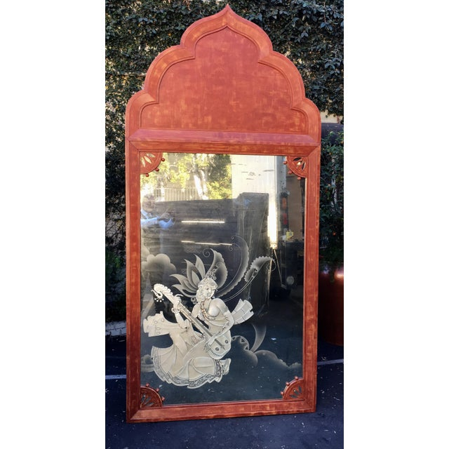 Huge Mid 20th Century Tony Duquette Red Bombay India Mirror - Image 5 of 5