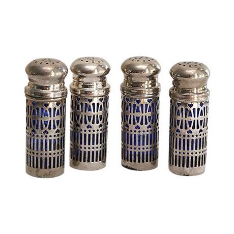 Image of Silverplate/Cobalt Salt & Pepper Set