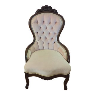 Vintage Pink and Dark Wood Bergere Chair