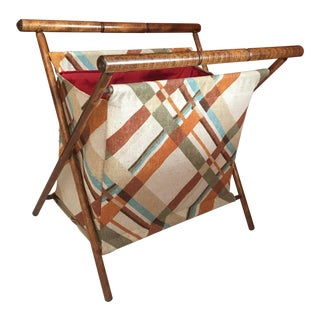 Vintage Bamboo Canvas Retro Magazine Rack