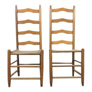 Vintage Carved Maple Ladderback Chairs - A Pair
