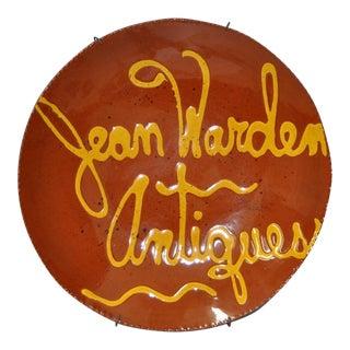 "Terra Cotta ""Jean Warden Antiques"" Hanging Plate c.1979"