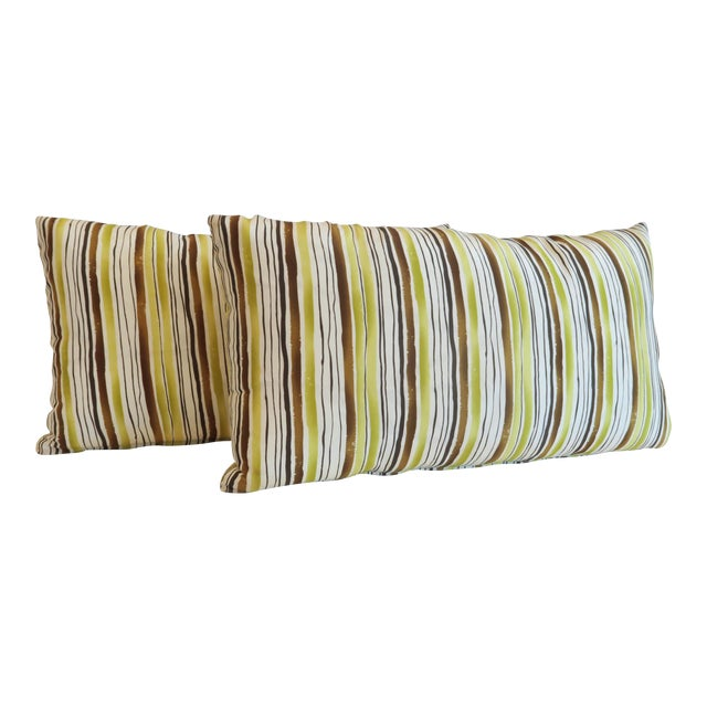 Custom Green Stripe Lumbar Pillows- a Pair - Image 1 of 4
