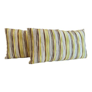 Custom Green Stripe Lumbar Pillows- a Pair