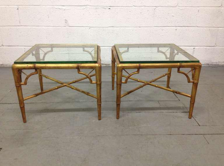 Pair Of Gold Gilt Faux Bamboo Tables   Image 2 Of 5