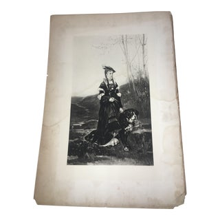1880's Lady & Burmese Mountain Dog Litho