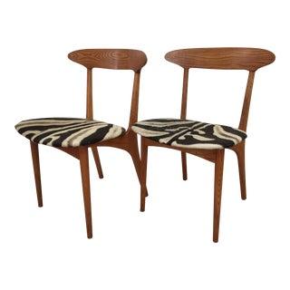 Kurt Ostervig Zebra Hide Chairs - a Pair