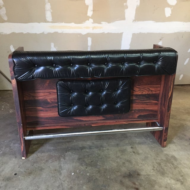 1960s Vintage Black Leather Tufted Dry Bar - Image 11 of 11