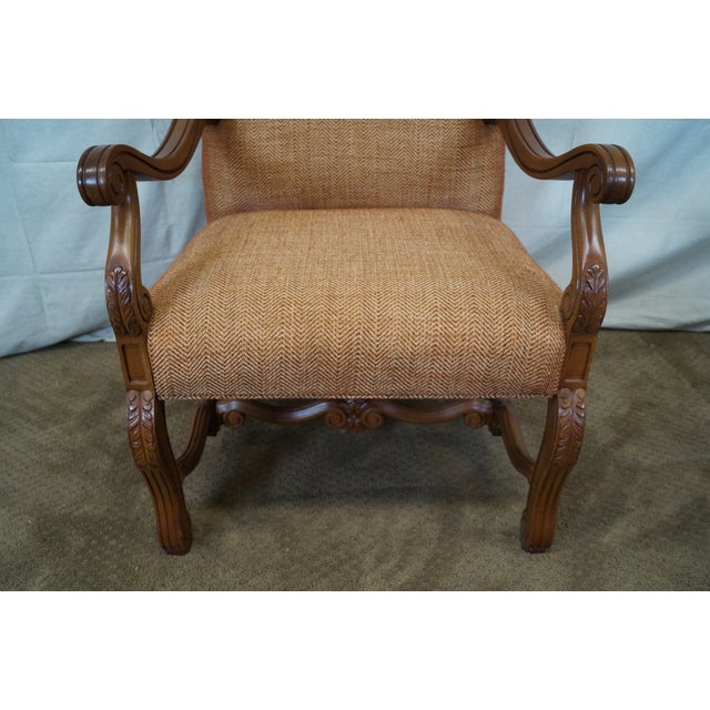 Image of Quality Renaissance Style Carved Frame Arm Chair