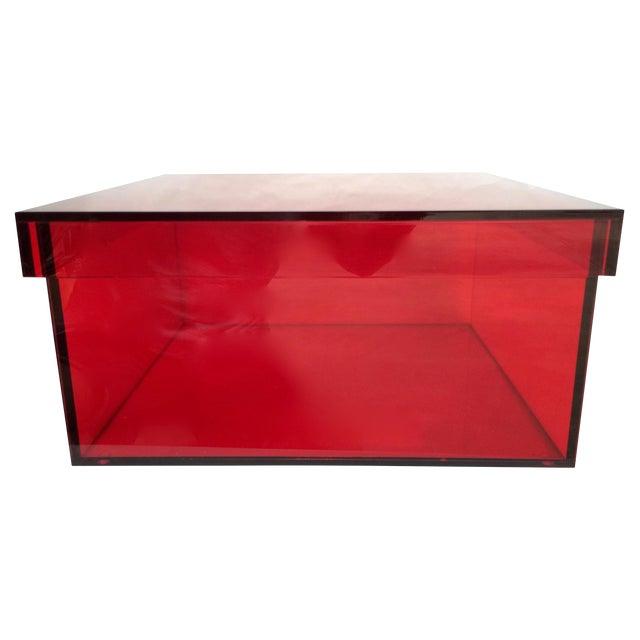 Vintage Red Acrylic Storage Box - Image 1 of 7