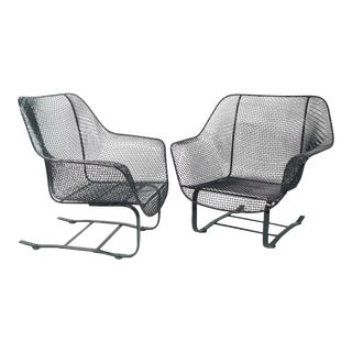 Pair of Russell Woodard Steel Mesh Spring Base Lounge Chairs