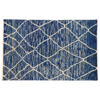 Contemporary Blue Moroccan Style Area Rug - 4′1″ × 6′3″