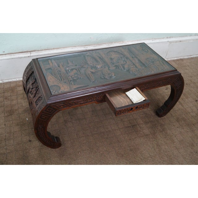 Chinese Relief Coffee Table: George Zee Vintage Carved Chinese Coffee Table