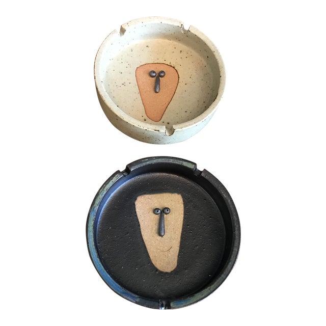 Image of Japanese Stoneware Face Ashtrays - A Pair