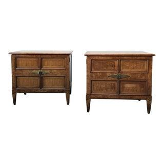 Henredon Mid-Century Burlwood Bedside Tables - A Pair