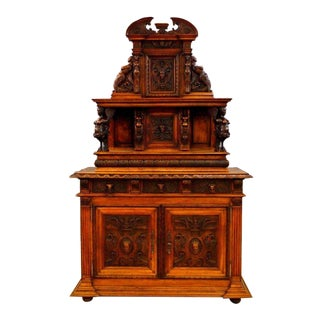 19th Century Italian Walnut Hand Carved Buffet