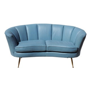 Blue Italian Leather Modern Design Loveseat