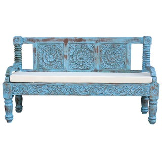 Carved Lotus Blue Bench