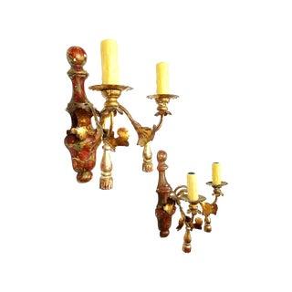 Italian Faux Marble & Wood Sconces - Pair