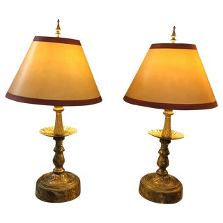 Vintage Candlestick Table Lamps - Pair