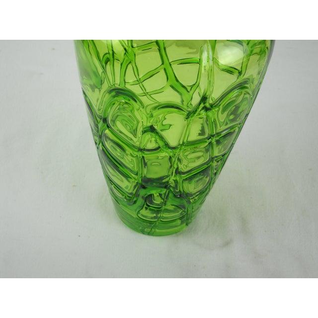 Image of Modernist Chartreuse Art Glass Vase