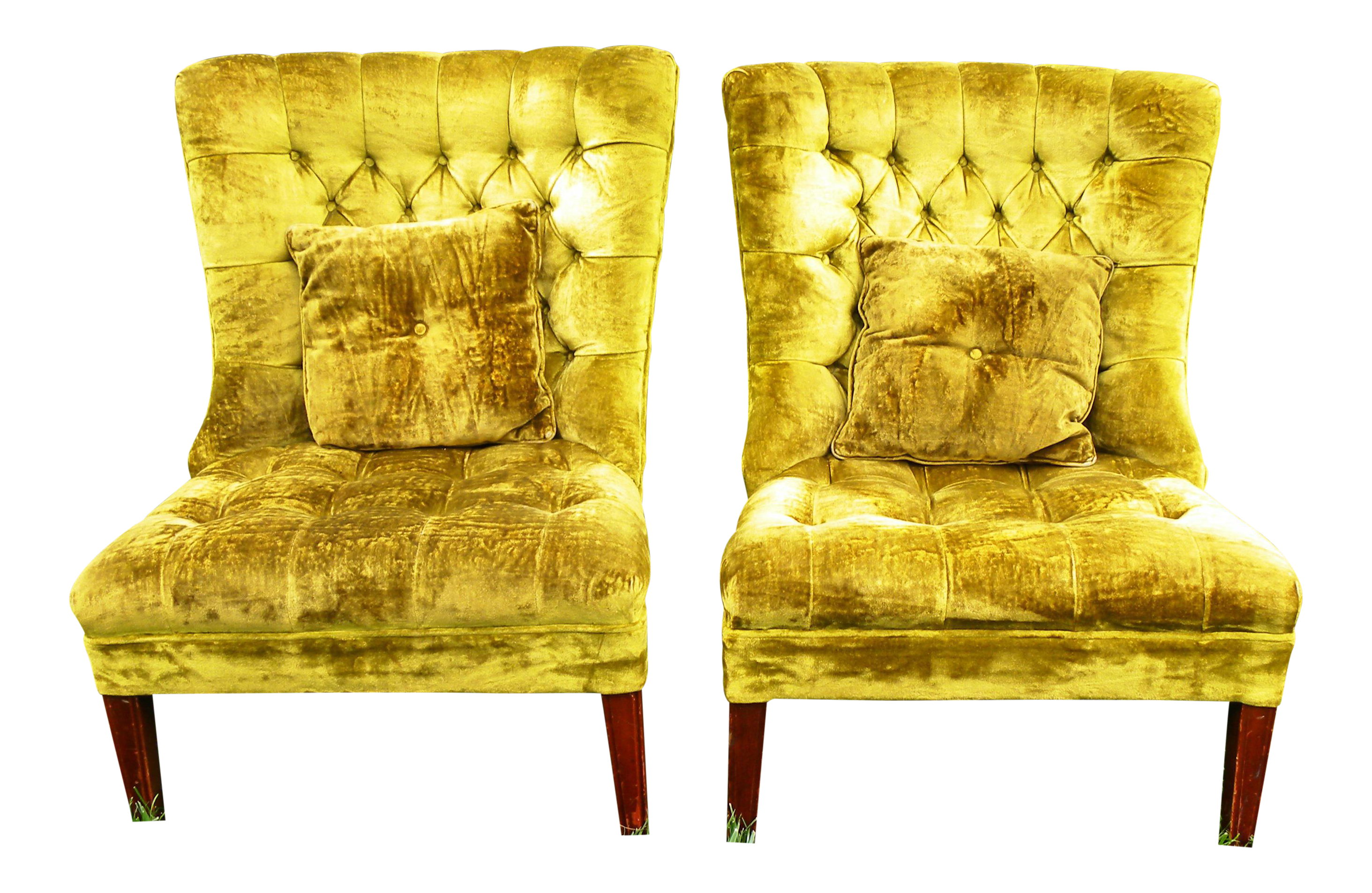 Vintage Chartreuse Velvet Accent Chairs   A Pair