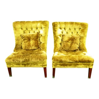 Vintage Chartreuse Velvet Accent Chairs - A Pair