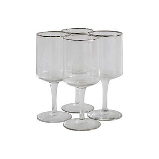Silver Rim Wine Glasses- Set of 4
