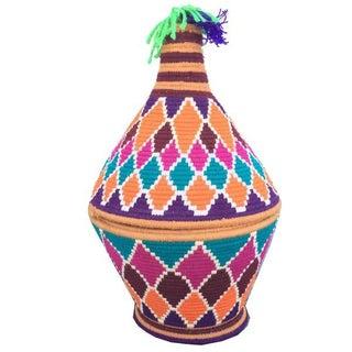 Moroccan Hand-Woven Multicolor Basket