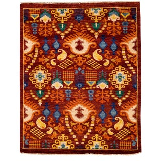 """New Suzani Hand Knotted Area Rug - 4'4"""" x 5'4"""""""