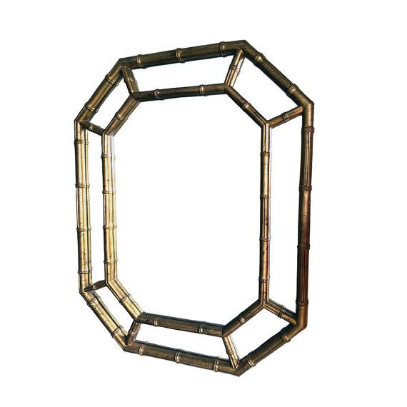 Hollywood Regency Bamboo Mirror in Gold & Ink - Image 1 of 5
