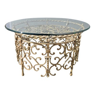 Vintage Rococo Wrought Iron & Glass Coffee Table
