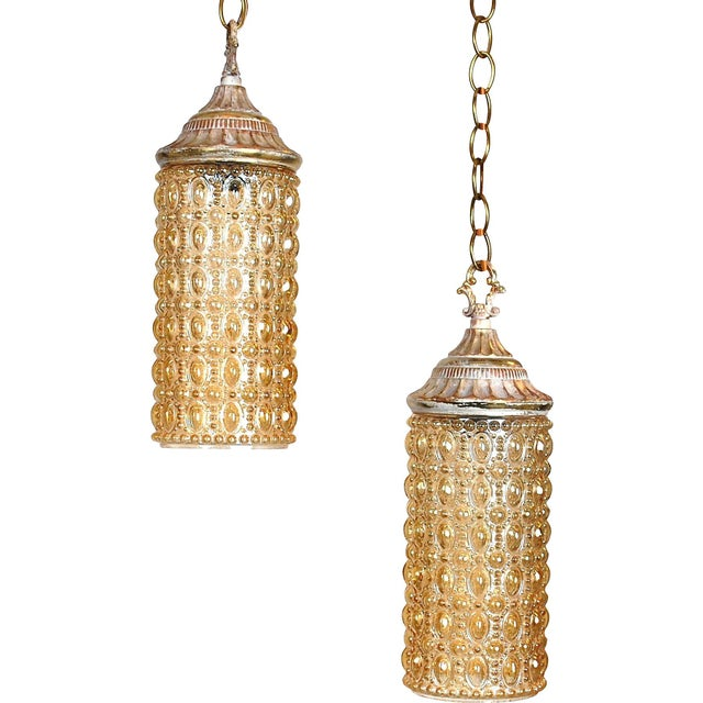 Mid-Century Amber Pendant Lights - A Pair - Image 1 of 8