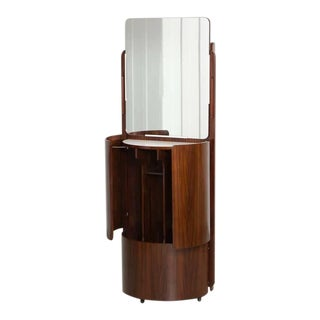 Round Italian Fold Out Wardrobe / Vanity In Rosewood