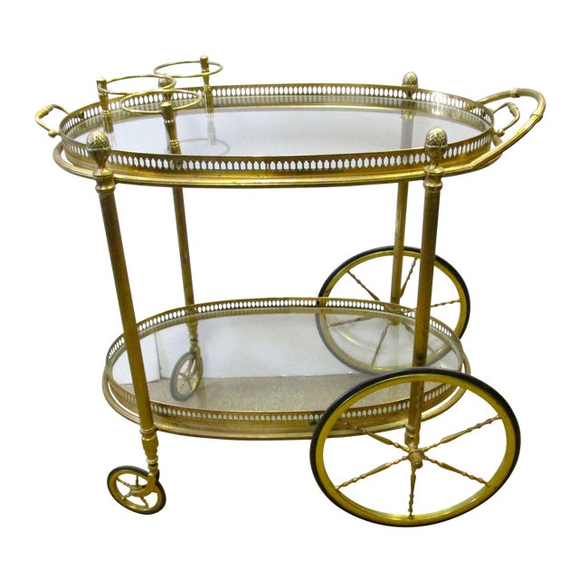 Brass and Glass Rolling Bar Tea Cart - Image 1 of 4