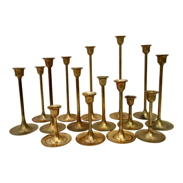 Lot of 15 Vintage Brass Graduated Tulip Candle Stick Holders - Image 1 of 6