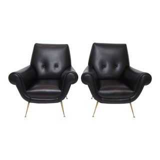 Pair of Italian Modern Leather and Brass Lounge Chairs, Minotti