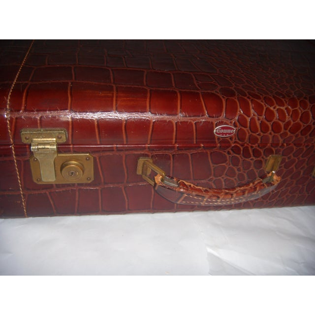 Image of Vintage Towne Faux Alligator Leather Suitcase