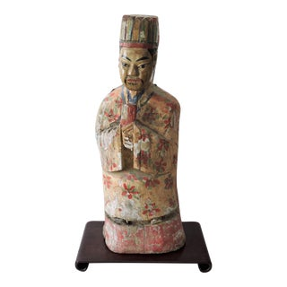 Antique Polychrome Carved Chinese Scholar