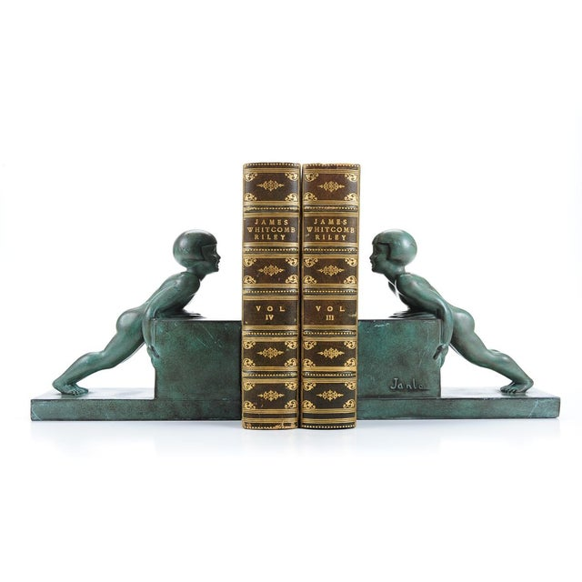 Image of Art Deco Bronze Kid Figure Bookends - A Pair